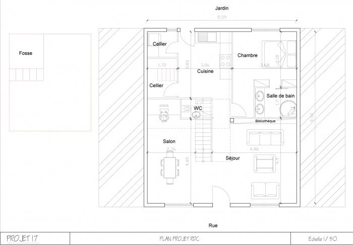 Aménagement maison de ville : Plan RDC