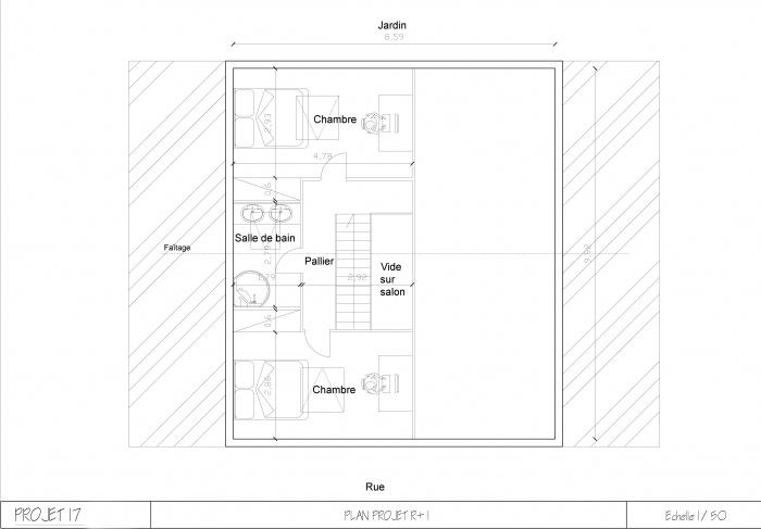 Aménagement maison de ville : Plan R+1